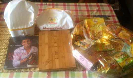 A Bountiful of gifts from Saffola  including a recipe book written by Masterchef Vikas Khanna