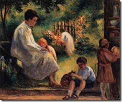 Maximilien-Luce-Rolleboise-woman-and-child-in-the-garden
