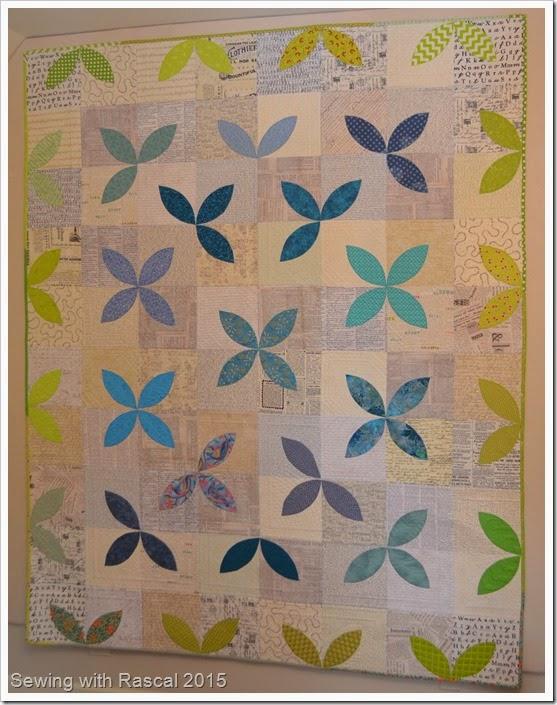 Petals and Text quilt