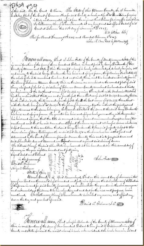 Joseph Bolander of Warren Co, OH conveys William Irwin Britton Irwin1848