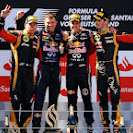 2013 German F1 GP podium: 1. Vettel 2. Raikkonen 3. Grosjean