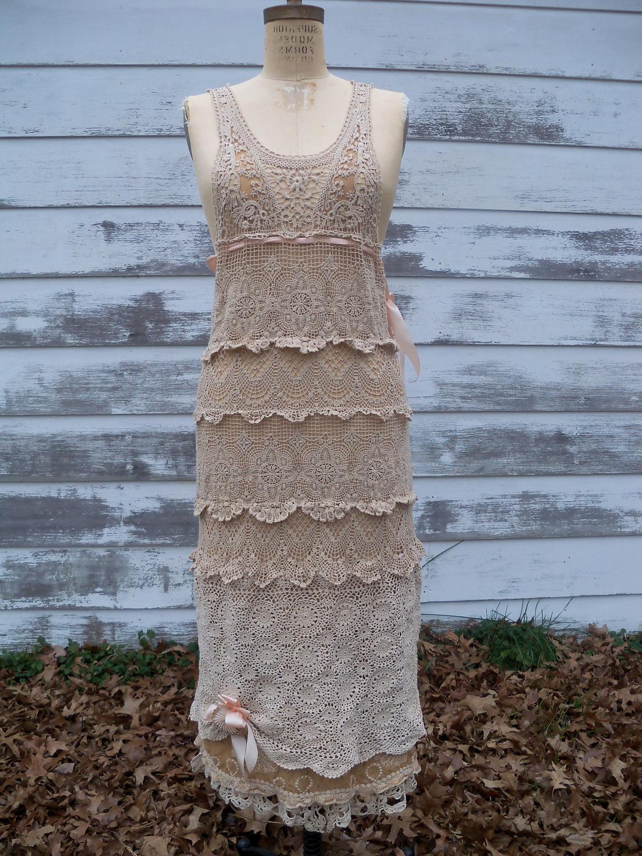 Vintage inspire Art Deco style crochet slip dress.