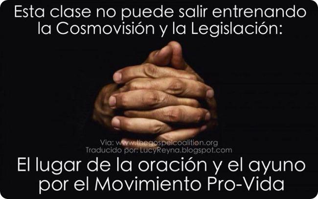 Esta clase no puede salir entrenando la Cosmovisión y la Legislación El lugar de la oración y el ayuno por el Movimiento ProVida
