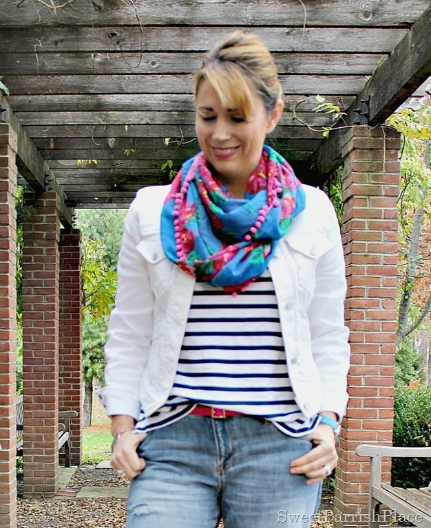boyfriend-jeans-white-denim-jacket-striped-shirt-floral-scarf-2