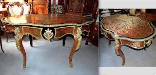 Красивый овальный стол в стиле БУЛЬ. ок.1860 г. Выдвижной ящик, резная позолоченная бронза, латунная инкрустация. 150/90/77 см. 7000 евро.