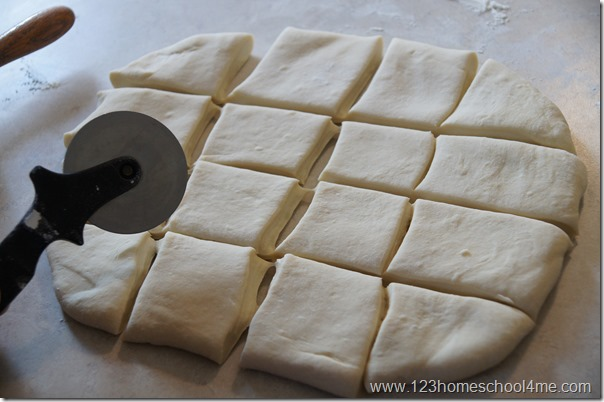 roll dough into square and cut into 16 pieces (4 by 4)