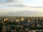 Skyline of Yerevan, Armenia, with Mt. Ararat behind, taken from the Cascade, Yerevan, Armenia.