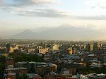 Skyline of Yerevan, Armenia, with Mt. Ararat behind, taken from the Cascade, Yerevan, Armenia.