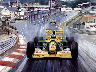 Михаэль Шумахер и Мартин Брандл на Benetton лидируют в Спа на Гран-при Бельгии 1992 - картина Michael Turner