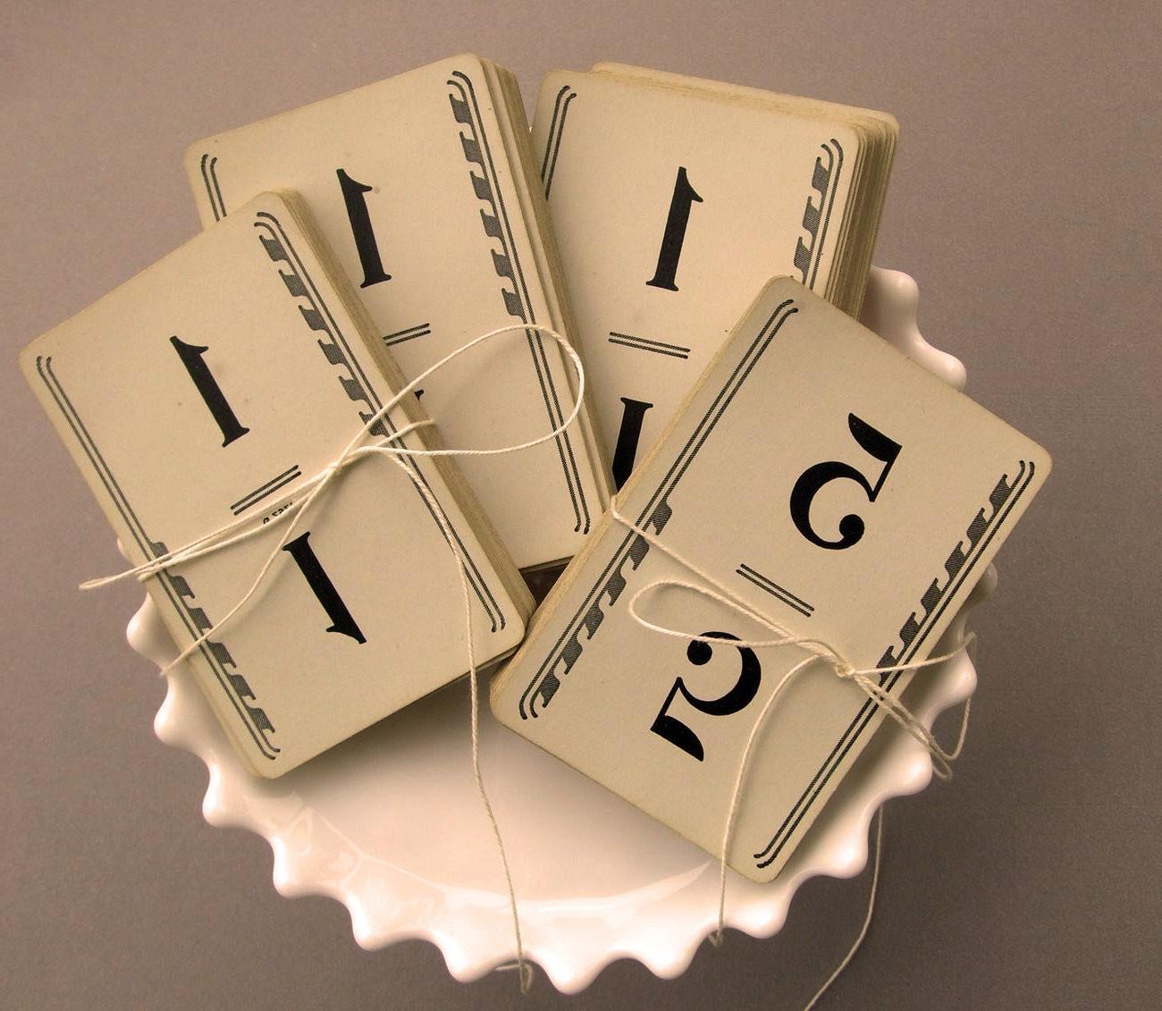 Fabulous 1950s VinTage WeDDinG TabLe NumBeRs- Vintage Number Cards,