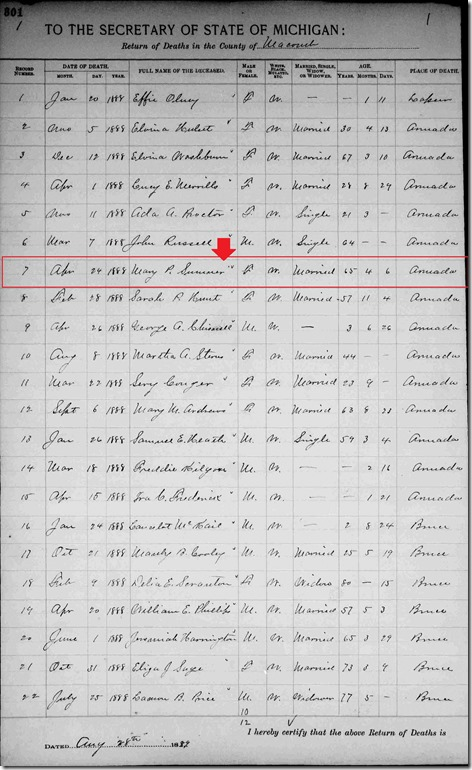 SUMNER_Mary nee PRATT_death record_21 Apr 1888_ArmadaMacombMichigan