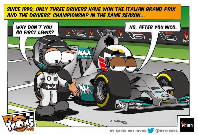 Нико Росберг и Льюис Хэмилтон ведут тактическую борьбу в Монце - комикс Chris Rathbone по Гран-при Италии 2014