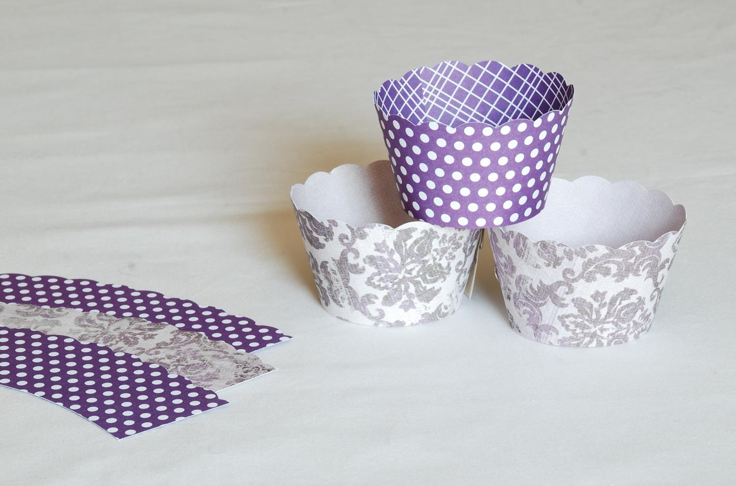 purple damask and polka
