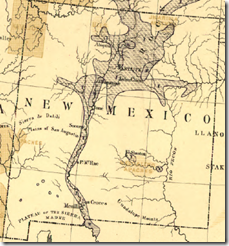 Detail of New Mexico from Francis A. Walker's 1870 population density map of the United States.