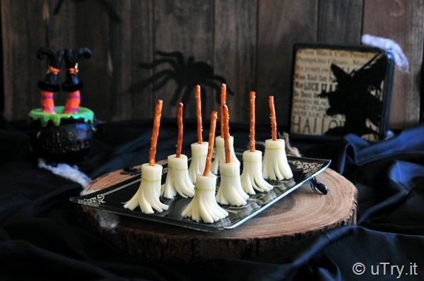 Check out How to Make Witch's Broom Cheese Snacks with step-by-step video tutorial--a fun and healthy Halloween savory treat for everyone!  http://uTry.it