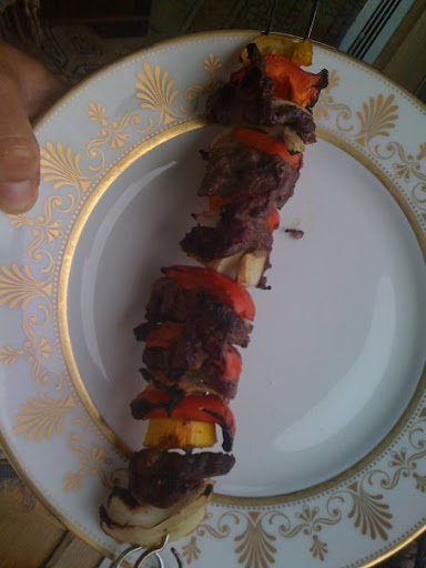 Love k-babs--threaded morsels so easy to constuct ahead for summer eats. Used sirloin tips, pepper, zuch, onion--that's all with s&p then grill. Also am mad for these lamb ones too from EDF.