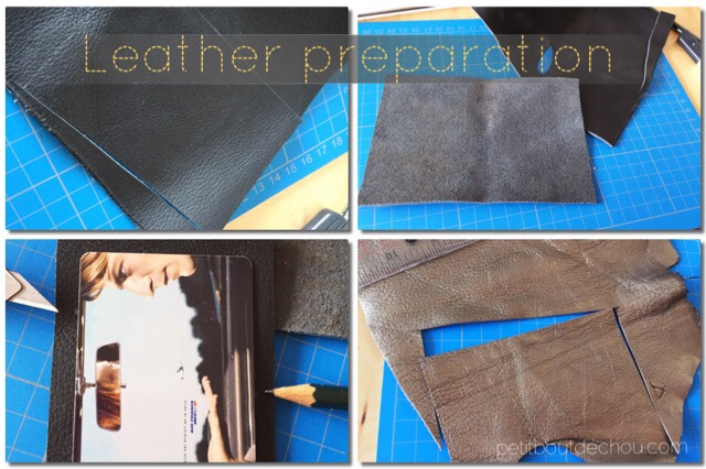cut leather pieces following free pattern