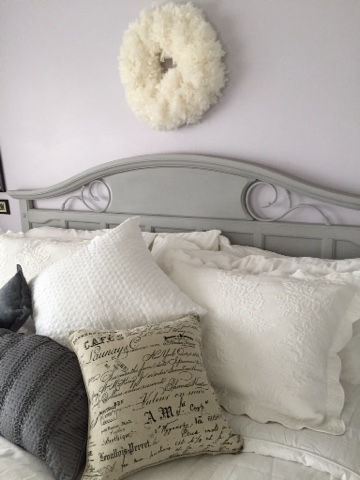 painted headboard Annie Sloan Paris Grey