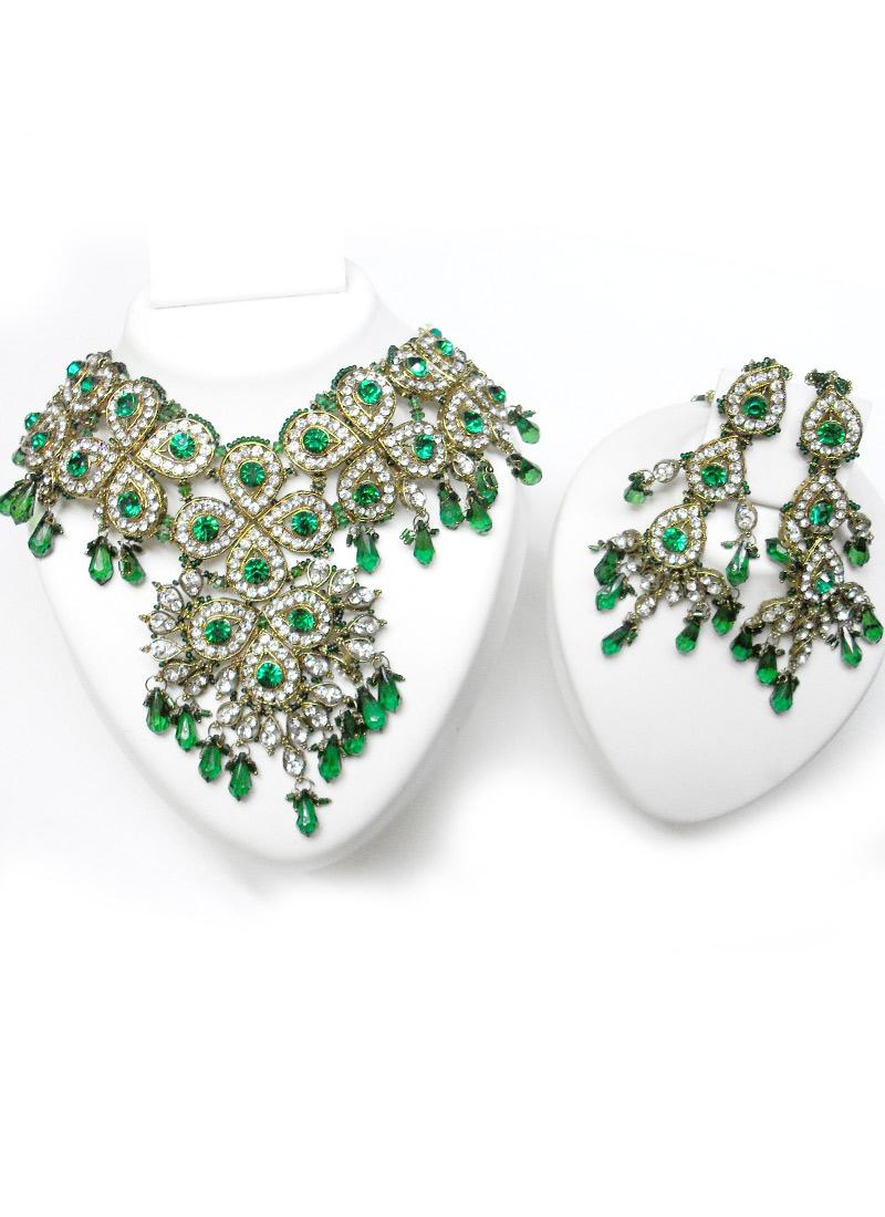 Green Stones & Crystal Polki