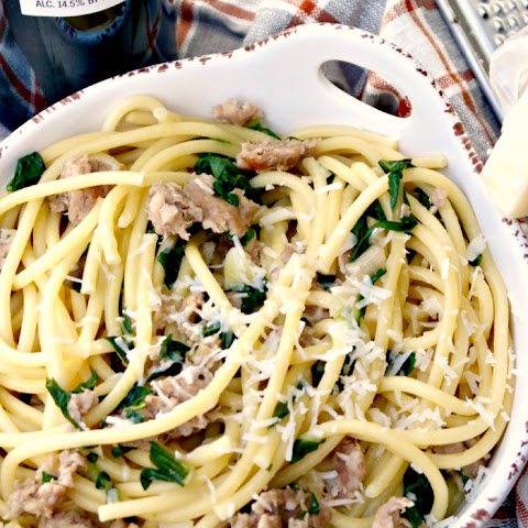Bucatini with Sausage and Kale
