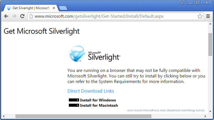 Chrome asking to install Silverlight though it's installed and enabled (www.kunal-chowdhury.com)