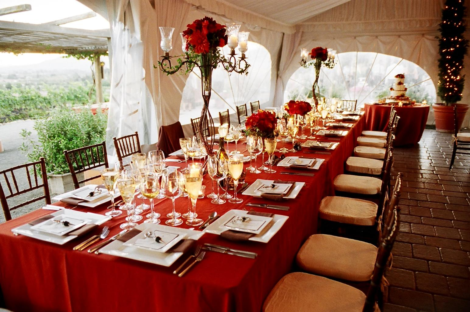 Red Table Setting