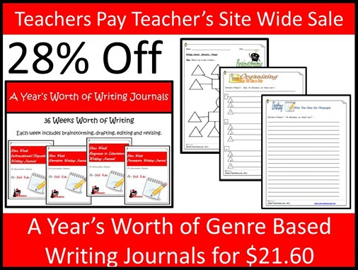 Teachers Pay Teacher's Site Wide Sale - Year Long Writing Journal Bundle