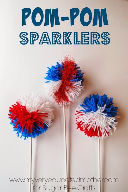 Red, White, and Blue Pom-pom Sparklers for the Patriotic Holidays