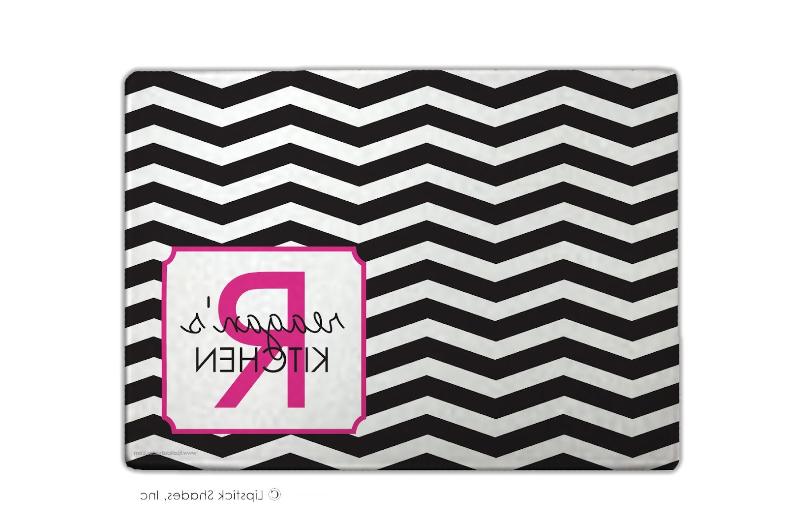 Personalized Cutting Boards   black fuschia chevron personalized cutting