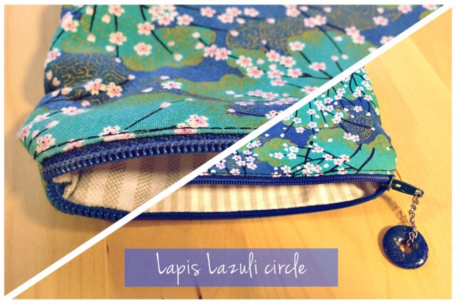 Basic zipper pouch japanese fabric lapis lazuli circle