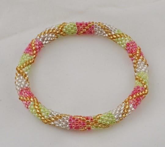 White red green strip braceltes