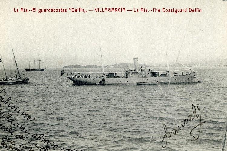 El guardapescas DELFIN en la ria de Villagarcia. Fecha indeterminada. Postal.JPG