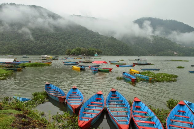 Colorful boats on Phewa Lake, Pokhara