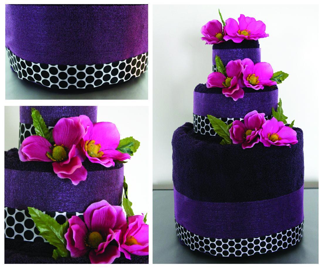 A towel wedding cake is a fun
