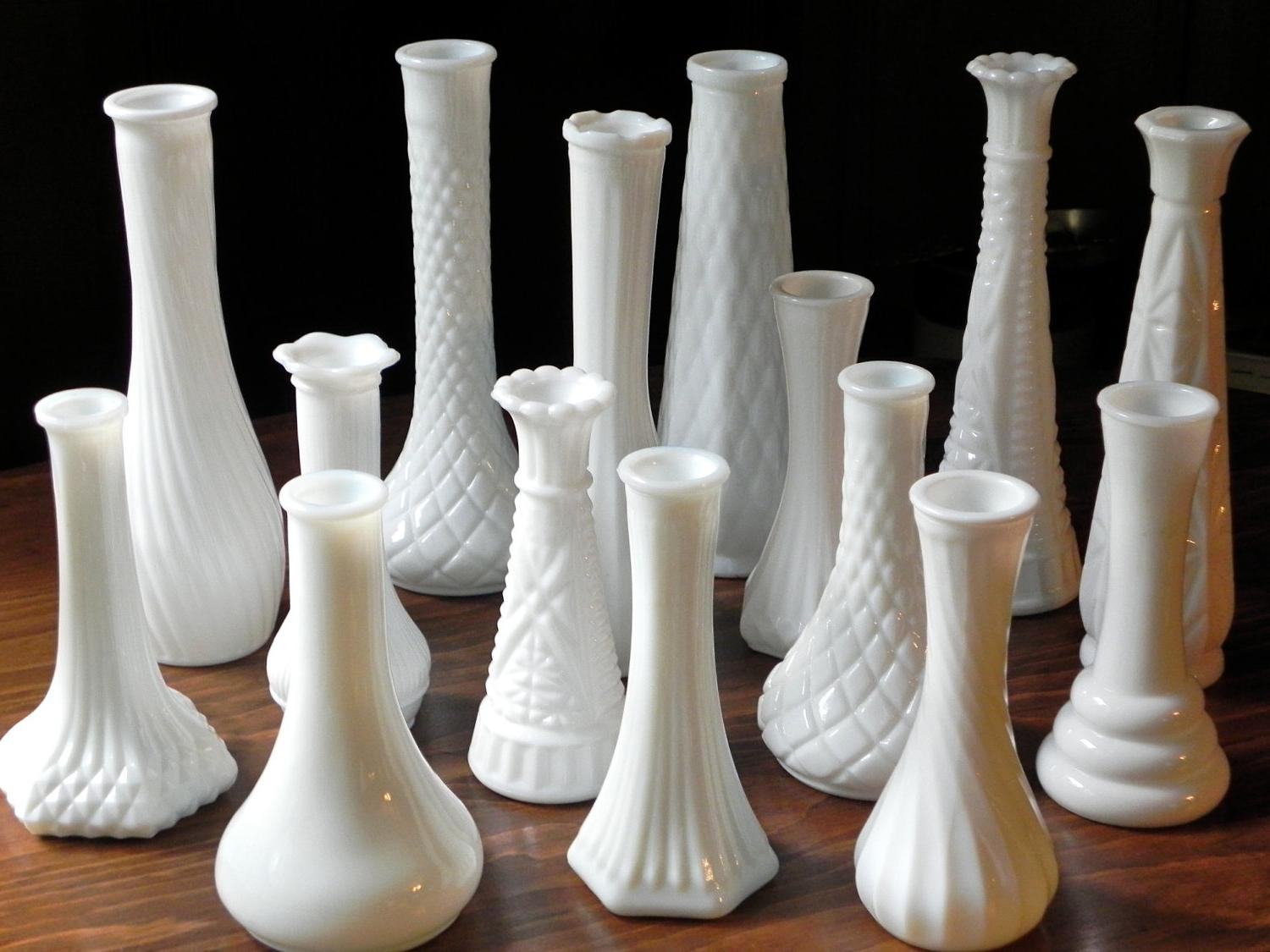 Vintage Milk Glass Vases Collection Of 15 No Duplicates.
