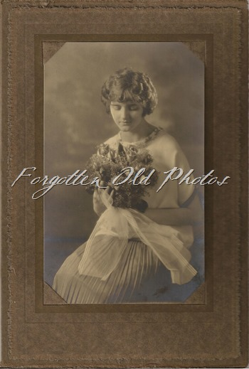 Unknown bride with huge bouquet DL Antiques