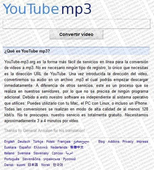 Convertir vídeos youtube a MP3 - página YouTube MP3