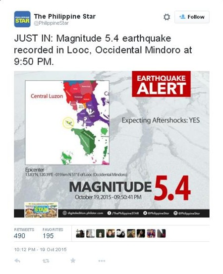 earthquake oct 19 2015 (PhilippineStar on Twitter