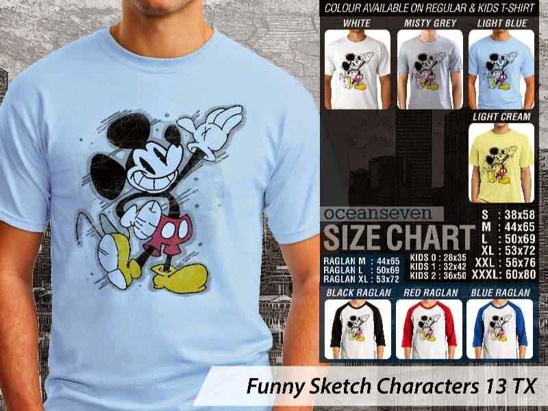 Kaos Kartun Lucu Funny Sketch Characters 13 mickey mouse distro ocean seven