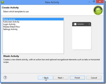 new blank activity