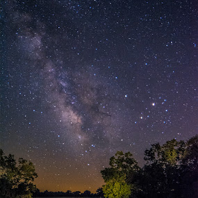 Path to the stars by Marietta Caldwell - Landscapes Starscapes ( light painting, stars, night, landscape, starscape, milky way )