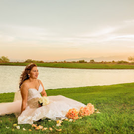 bride in grass by Lucas Strawhorn - Wedding Bride ( grass, sunset, wedding, flowers, bride )