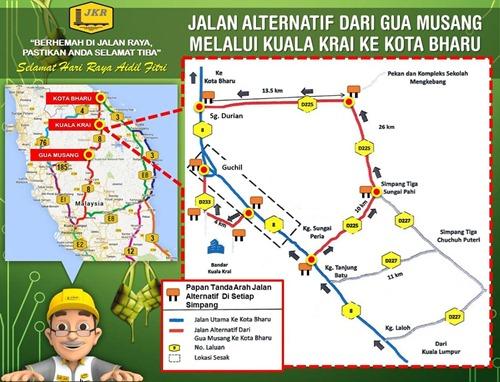 Laluan alternatif Gua Musang ke Kota Bharu melalui Kuala Krai