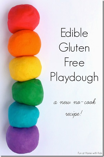 Edible Playdough for Toddlers - what a cool play dough recipe that requires no cooking! Great for sensory play for toddler, preschool, kindergarten, and more!