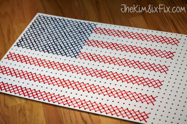 Painted cross stitch flag