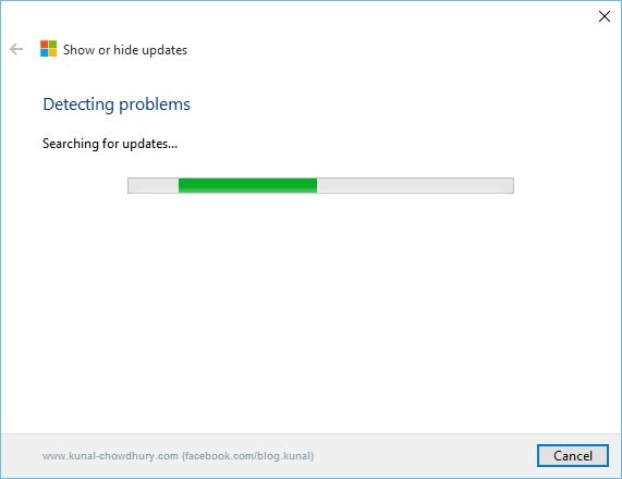2. Show or Hide updates Troubleshooter - Searching updates screen