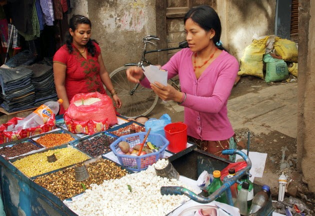 Street vendor making delicious Chatpat at Kathmandu, Nepal