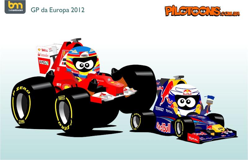 Фернандо Алонсо Себастьян Феттель Ferrari Red Bull Валенсия pilotoons Гран-при Европы 2012