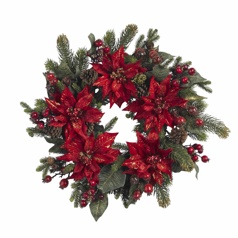 24 Poinsettia & Berry Wreath