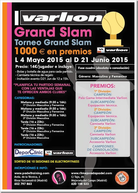 I Torneo Bimestral Varlion Grand Slam en el Club Indoor Padel Training, Madrid.